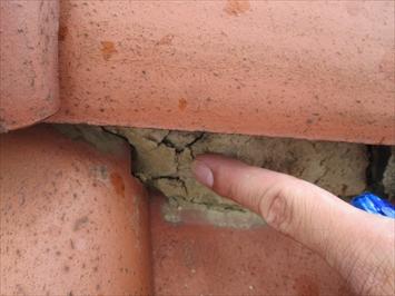 土がむき出しになると棟が崩れる原因になります