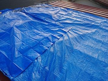 工事までの間に雨漏りしない様にブルーシートで養生します