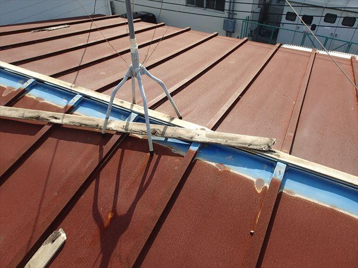 棟板金の外れた瓦棒屋根