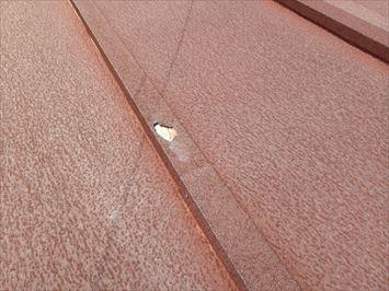 カッパに穴の開いた瓦棒屋根