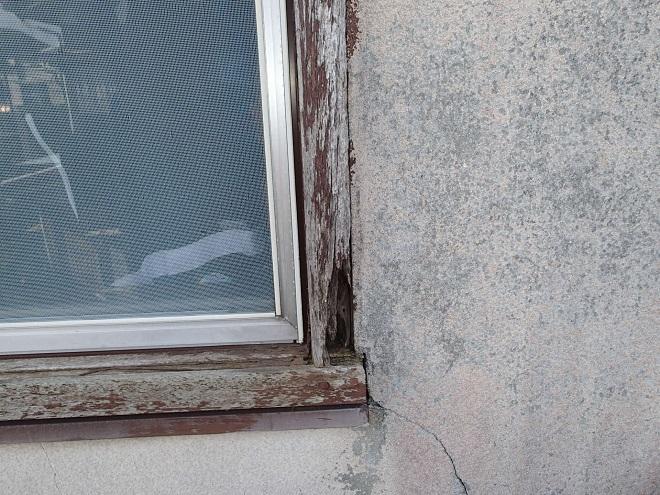 塗膜の剥がれた窓枠