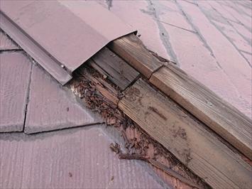 八王子市片倉町で調査したスレート屋根の棟板金は下地の貫板が腐食しています