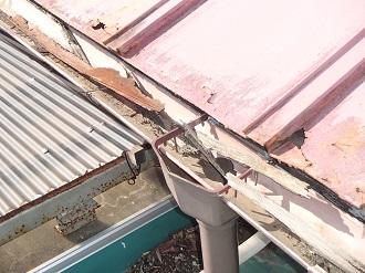 金属片や木片が詰まった雨樋