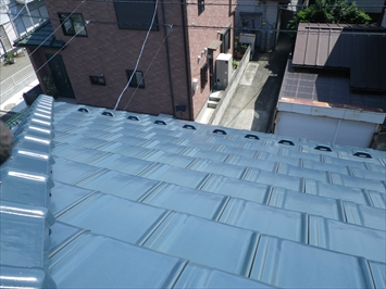 雪止め増設前の屋根の状態