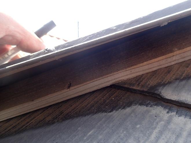 棟板金内部にまで浸水した雨水