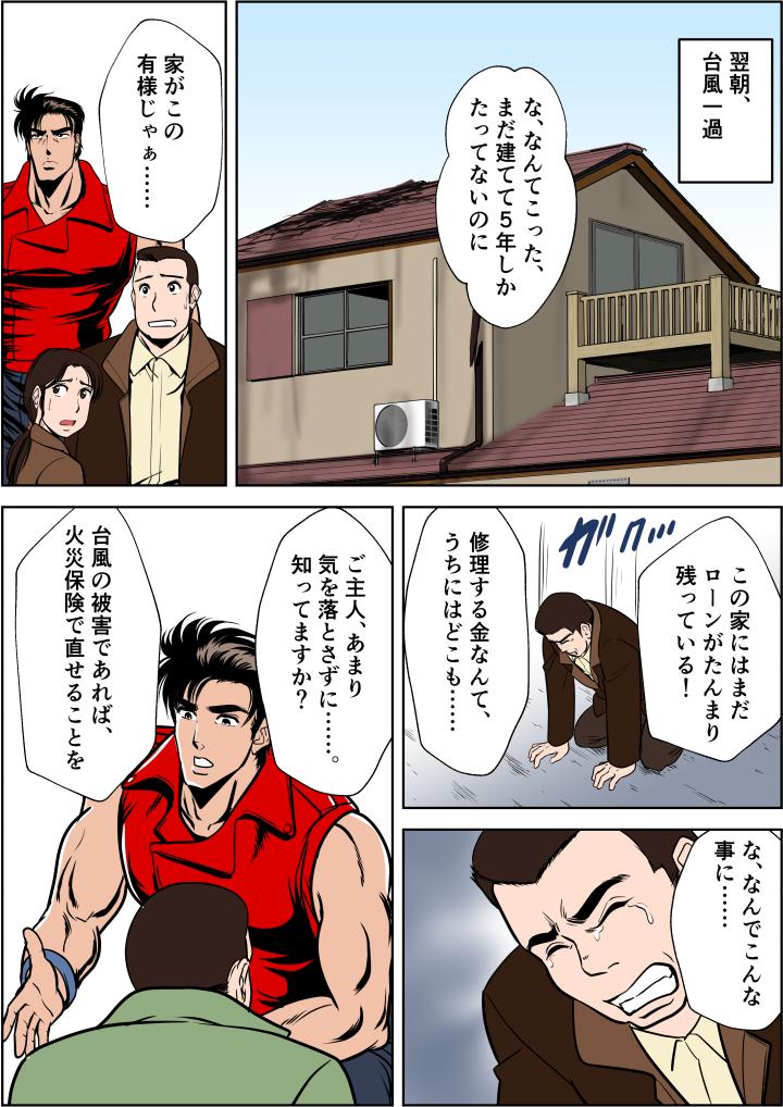 翌朝台風一過、屋根が大きく破損し落胆するご主人に火災保険のおすすめ