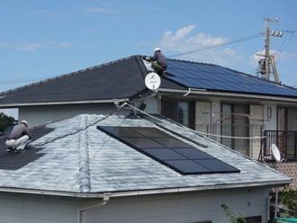 寄棟屋根の太陽光パネル設置
