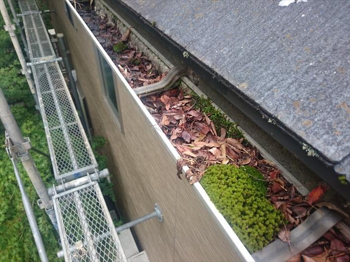 三鷹市井口で落ち葉対策で雨樋に落ち葉除けネットを取り付けます