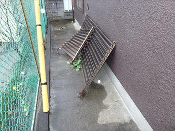 破損したフェンス