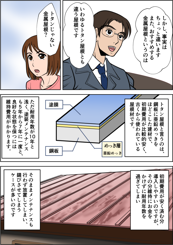 金属屋根は錆びやすいイメージがある、というご主人にトタン屋根のメンテナンス不足を指摘。