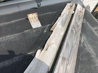 貫板が損壊しています