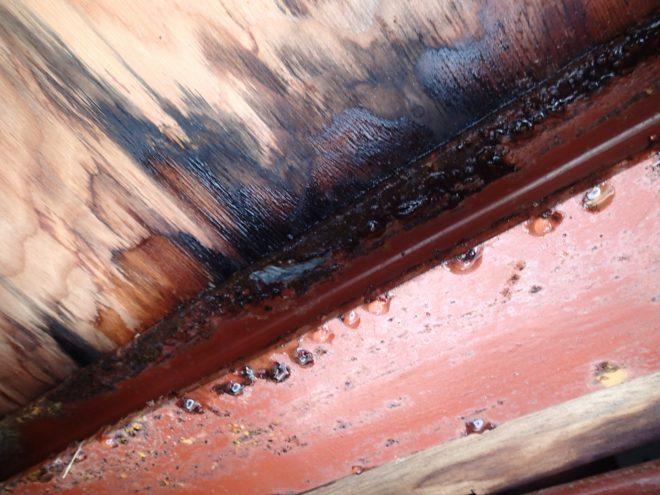 ベランダ床が雨漏りし内部が腐食