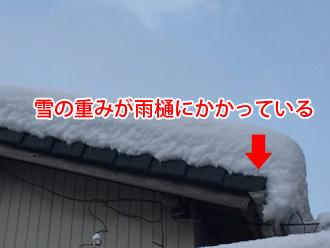 雪の重みが雨樋にかかっている