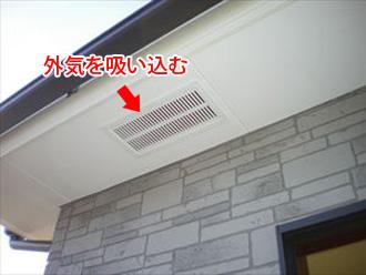 軒天の通気口から外気を吸って棟部で排気する
