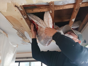 天井のボードを剥がします