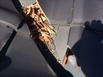落ちた瓦も雨漏りに繋がる危険性があります