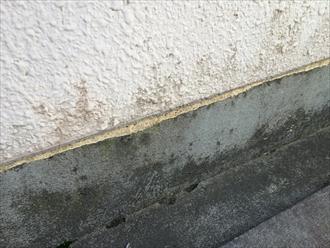 マンション廊下の立上りに施された防水層が劣化している