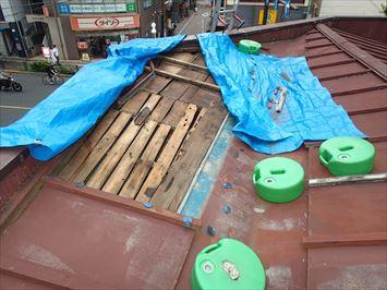 葛飾区新小岩でパラペットのある台風被害を受けた瓦棒屋根の補修調査に伺いました