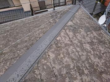棟板金の黒い斑点は雹の跡です