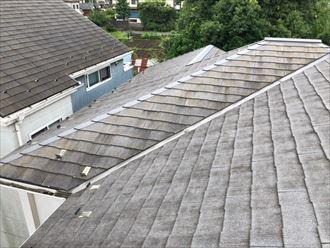 東側に苔が生えた屋根