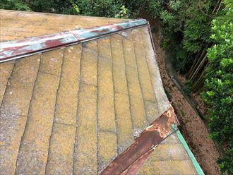 苔で黄色くなったスレート屋根