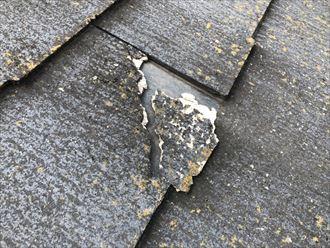 調布市布田で劣化したスレート屋根を調査しました
