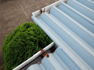 屋根に上って雨樋点検