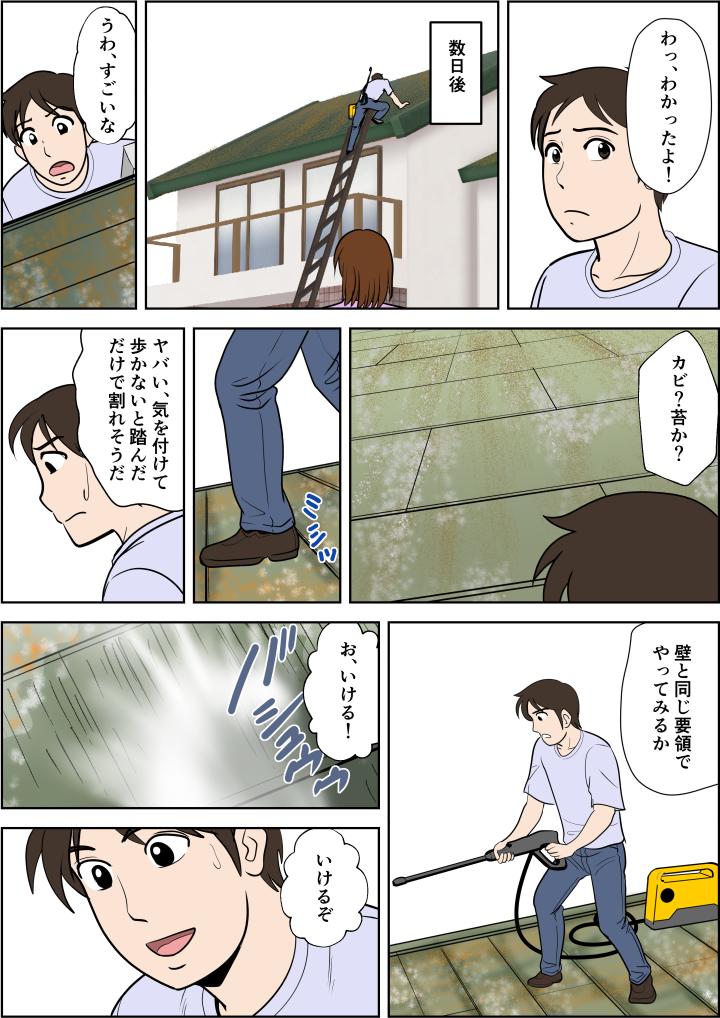 外壁の清掃は経験があるので渋々承諾。洗浄機をもって屋根に上がりやってみると、苔が洗い落とせる。