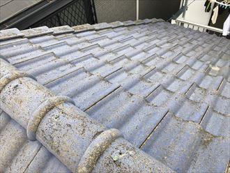 色あせたセメント瓦の屋根