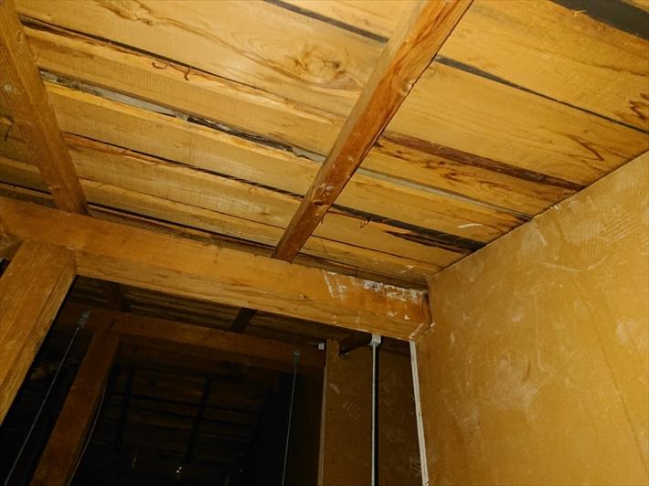 小屋裏から雨漏りの状況を調べます