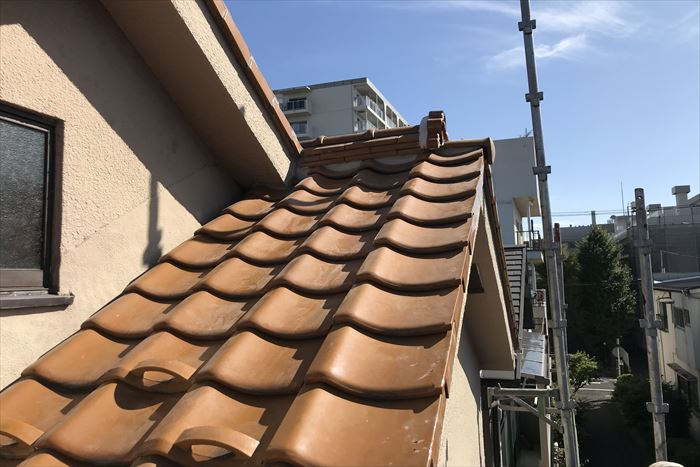 棟、屋根瓦部分葺き直し工事