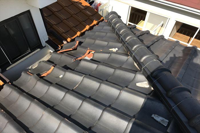 江東区東砂で瓦屋根の点検調査、令和元年東日本台風災害の為火災保険を使用しての修繕をご提案