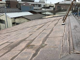 水染みの付着したスレート屋根