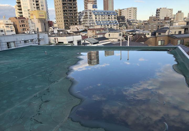 中野区東中野でシート防水の劣化を調査しました