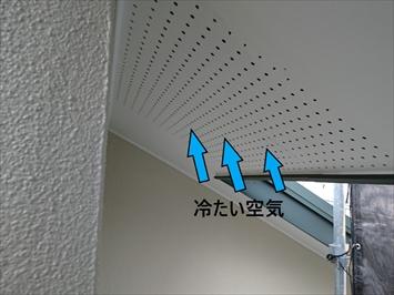 外気を軒裏換気孔から取り込みます