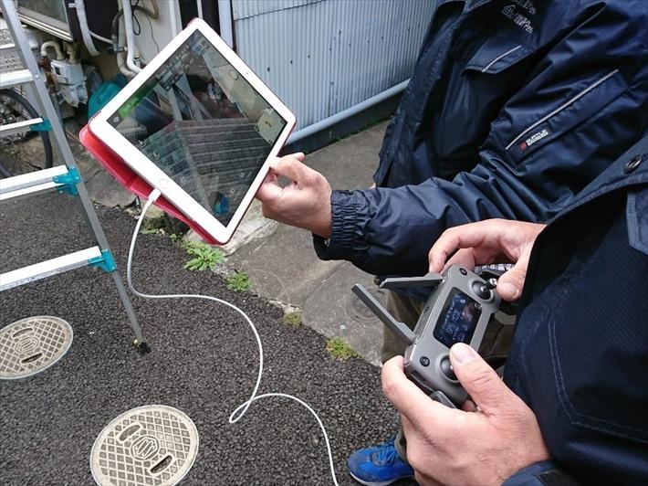 新宿区山吹町にて雨漏りの調査、都内の狭小地はドローンで調査します!