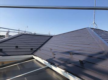 江戸川区中葛西|築24年の住宅にて屋根塗装(クールディープブルー)