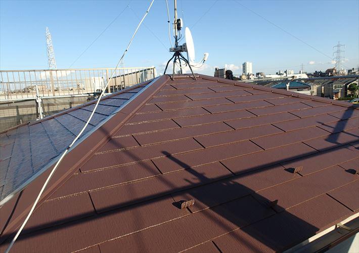 葛飾区細田にてクールナポリブラウンへ屋根塗装