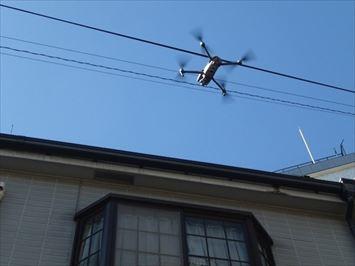 ドローンを使用し屋根の写真を撮影