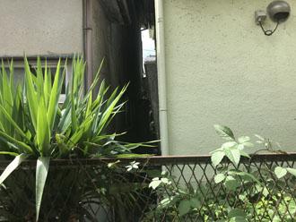 狭小地で梯子を架ける事が困難な為ドローンを用いて瓦屋根の調査