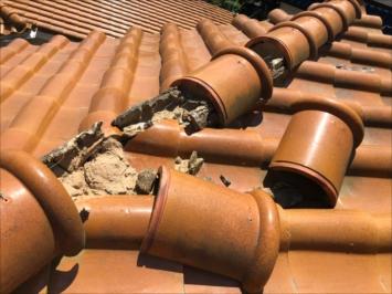 調布市多摩川で台風により外れてしまった棟瓦を点検してきました