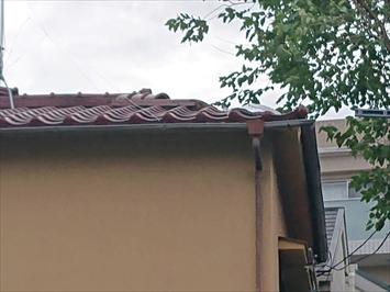 被害を受けた瓦屋根