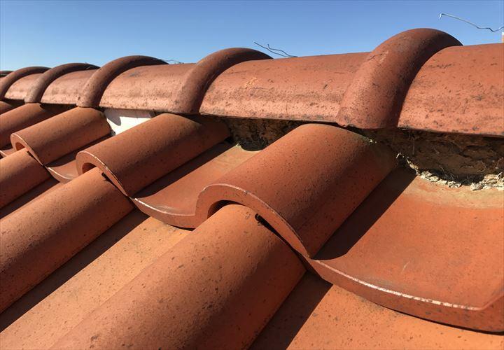 所々で漆喰の剥がれた瓦屋根の棟